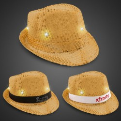 Gold Sequin LED Fedora Hats (Imprintable Bands Available)