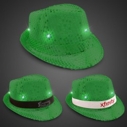 Green Sequin LED Fedora Hats (Imprintable Bands Available)