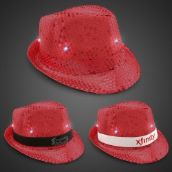 Red Sequin LED Fedora Hats (Imprintable Bands Available)