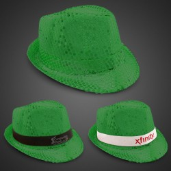 Green Sequin Fedora Hat (Imprintable Bands Available)