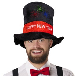 Happy New Year Velour Top Hat