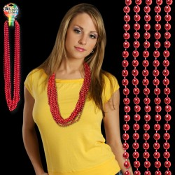 Red Metallic Beaded Necklace