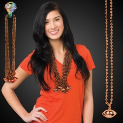 Orange Football Necklace Beads