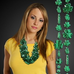 Green Metallic Shamrock Necklace Beads