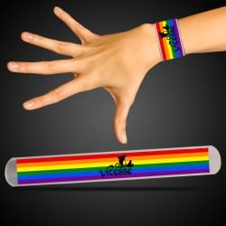 Silver Rainbow Pride Slap Bracelet