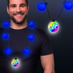 Blue LED Medallion Ball Necklace