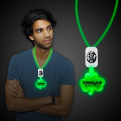 Green LED Shamrock Necklace with Extra Large Pendant