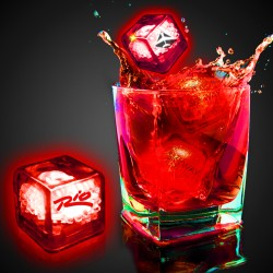 Imprinted Red Liquid Activated Light Up Ice Cubes
