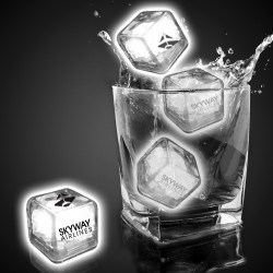 Imprinted White Liquid Activated Light Up Ice Cubes
