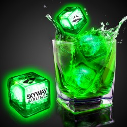 Imprinted Green Liquid Activated Light Up Ice Cubes