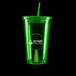 Green Light Up Travel Cup with Round Insert