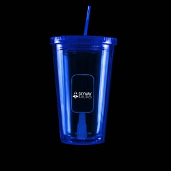 Blue Light Up Travel Cup with Dog Tag Insert
