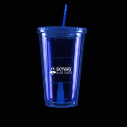 Blue Light Up Travel Cup with Square Insert