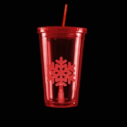 Red Light Up Travel Cup with Snowflake Insert