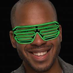 Green LED Slotted EL Sunglasses