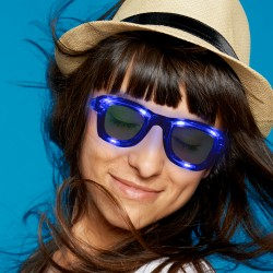 Blue LED Classic Retro Sunglasses with Sound Option