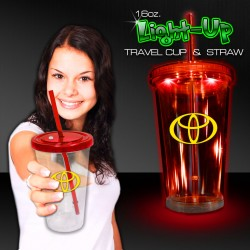 Red ight Up Travel Cup with CLEAR Lid and Straw