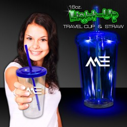 Blue Light Up Travel Cup with CLEAR Lid and Straw