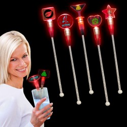 Red Light Up Cocktail Stirrers - Variety of Shapes