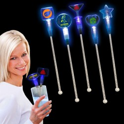 Blue Light Up Cocktail Stirrers - Variety of Shapes