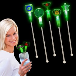 Green Light Up Cocktail Stirrers - Variety of Shapes