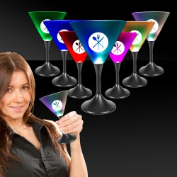 Light Up Martini Glass with Black Stem and Frosted Top - 7 Ounce