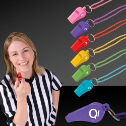 Plastic Whistles with Lanyard