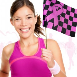Pink Ribbon Checkered Flag
