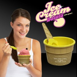 Yellow Ice Cream Bowl and Spoon Sets