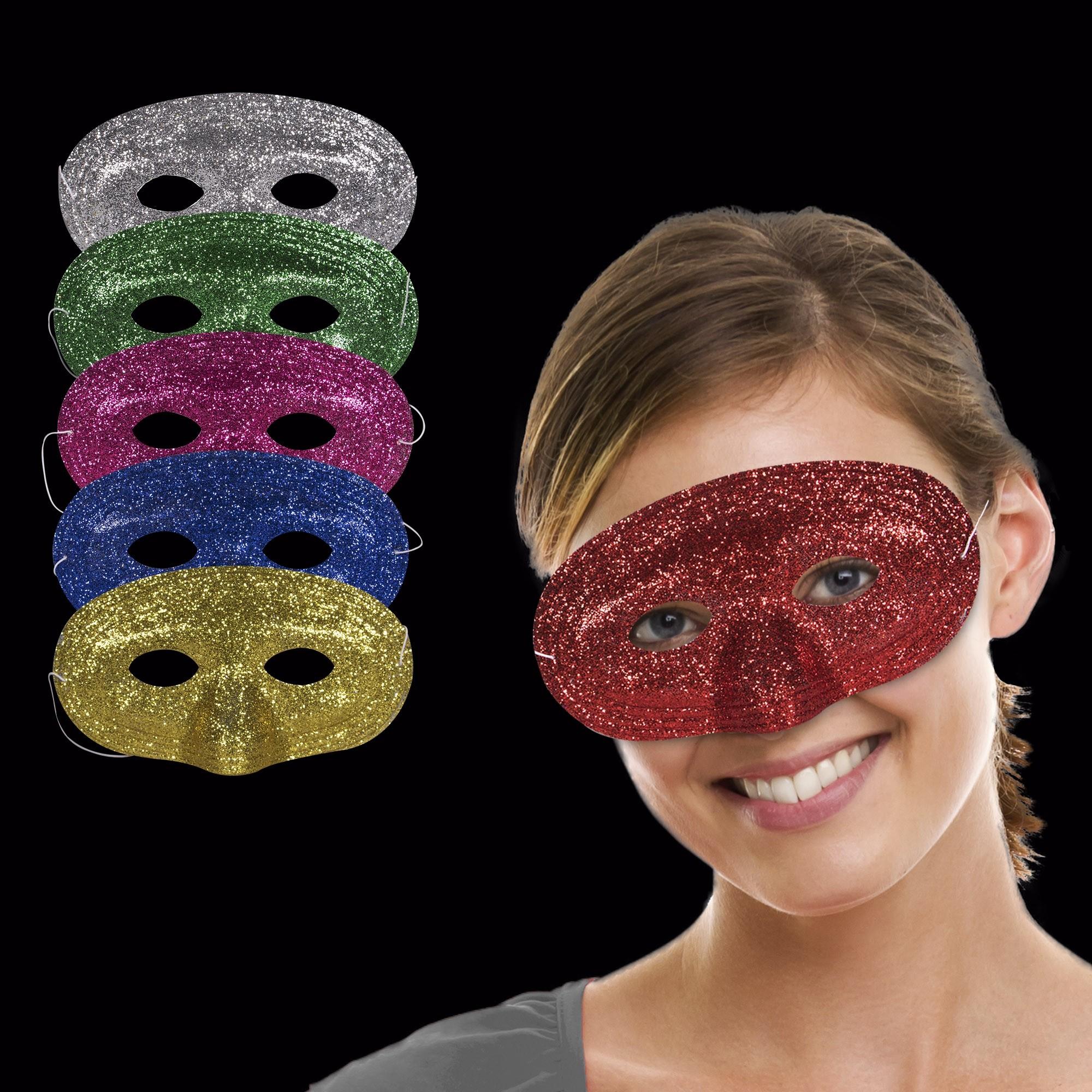 Assorted Color Glitter Masks