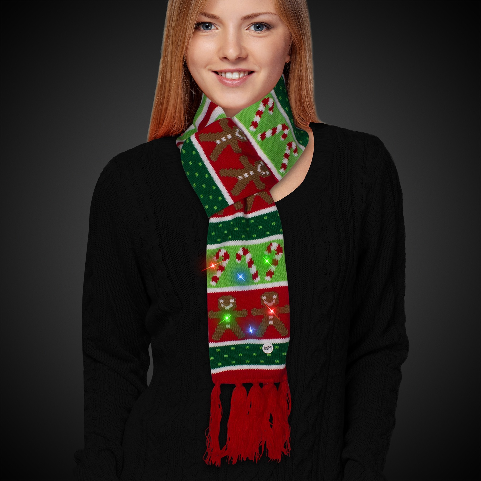 83fac3a906519 Gingerbread and Candy Cane LED Scarf - Christmas - Holidays   Events