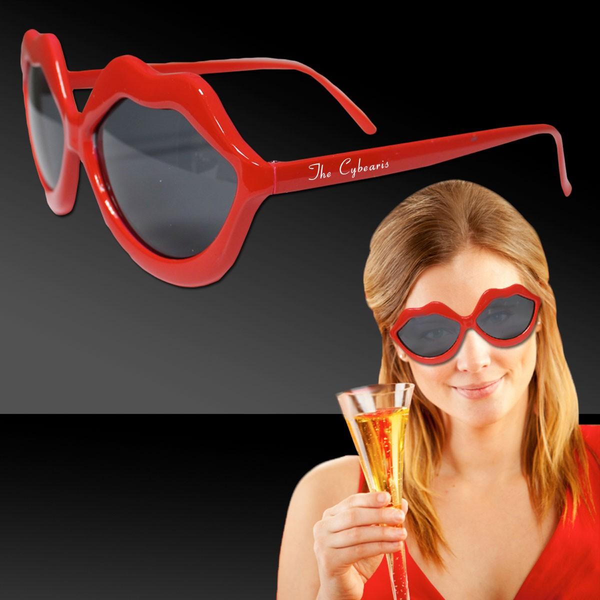 Red Plastic Lip Sunglasses