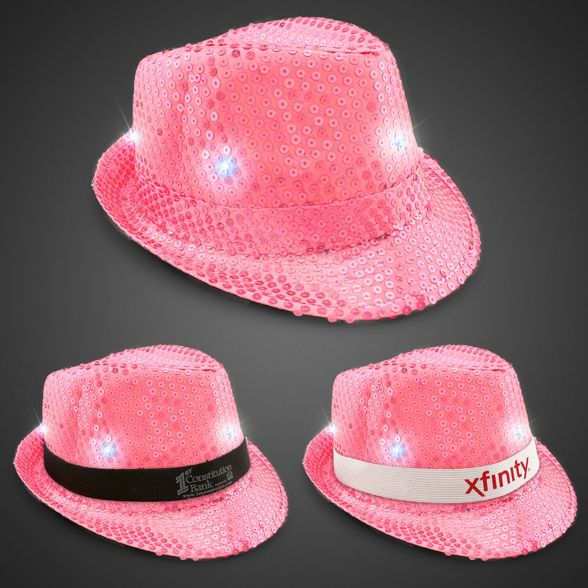 e3ebe057e9f Neon Pink Light Up Sequin Fedora (Imprintable Bands Available ...