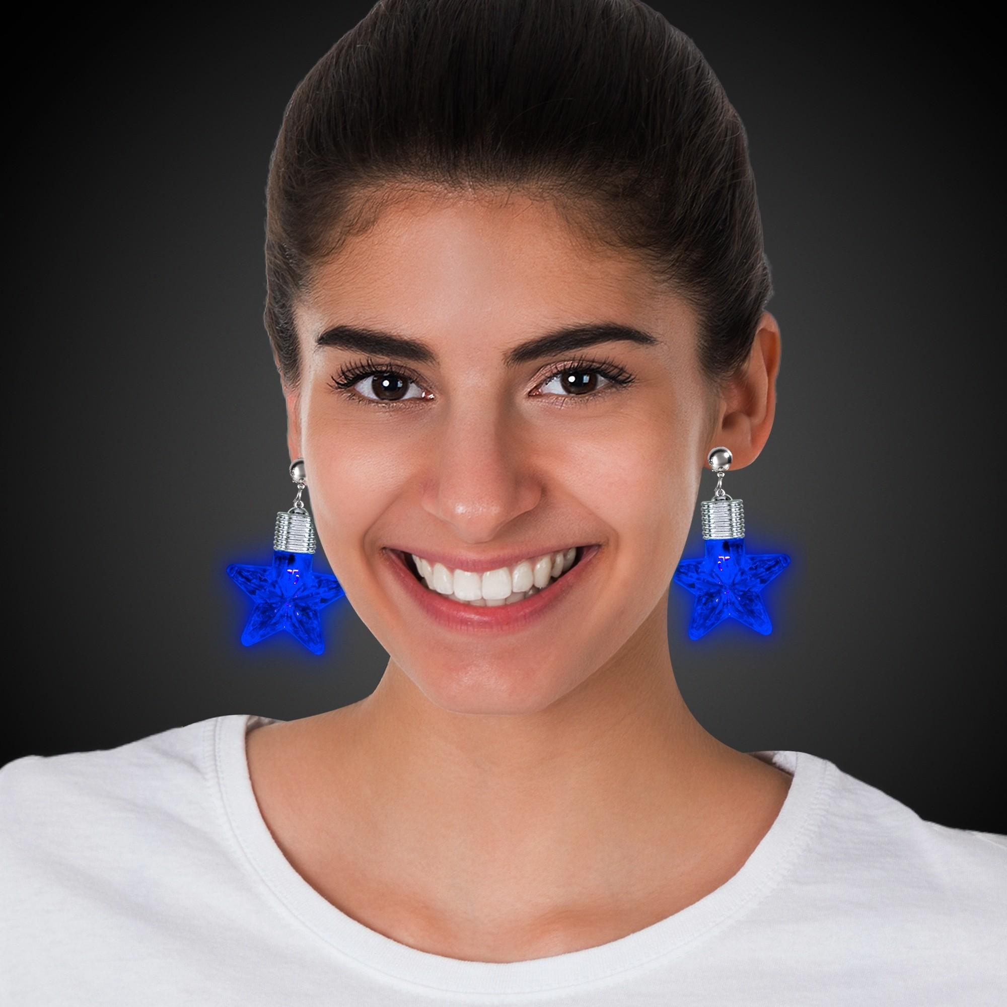 Blue Star LED Clip On Earrings