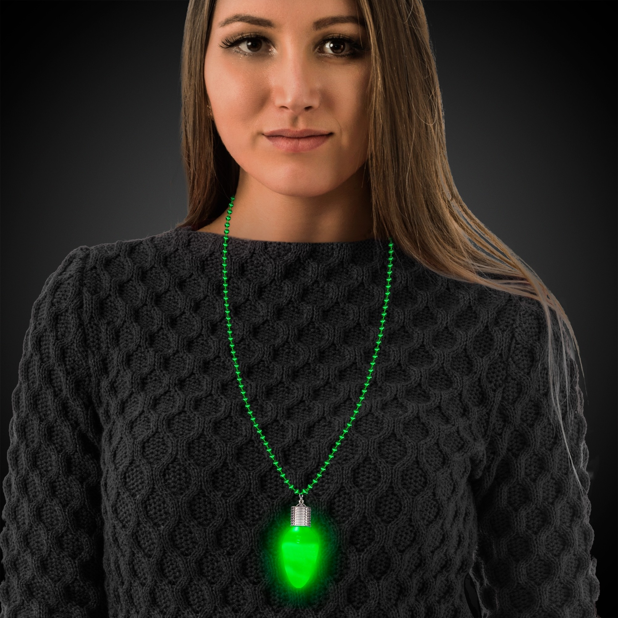 Green Bulb LED Bead Necklace