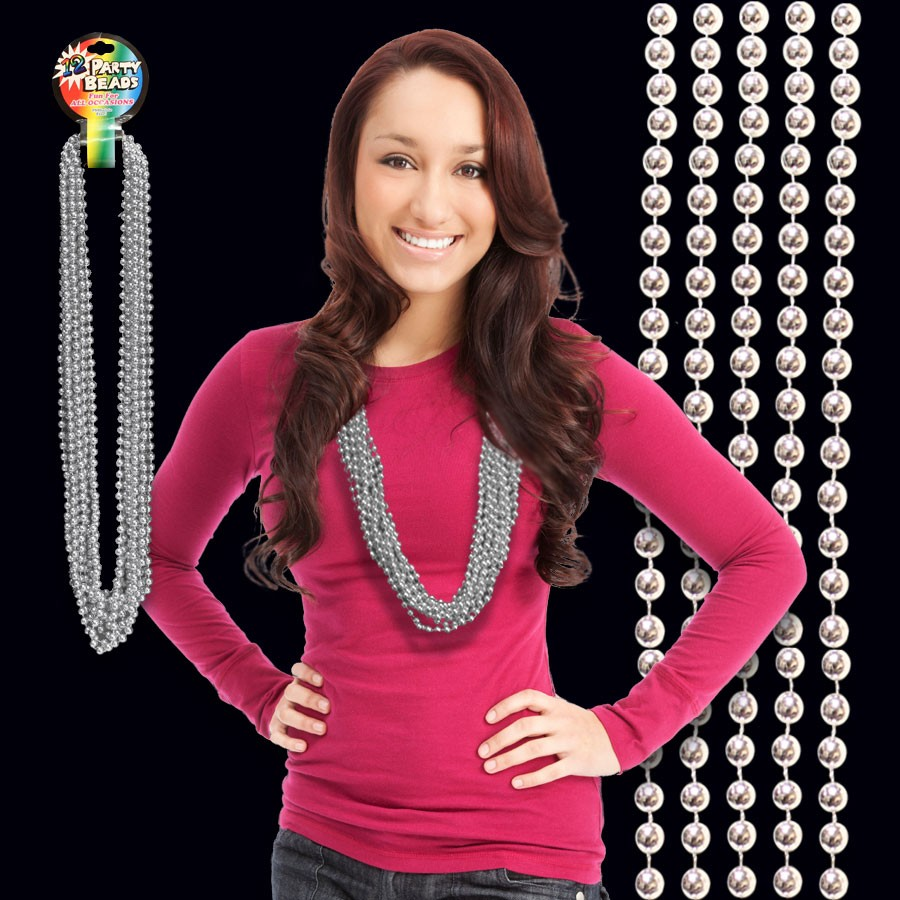 Silver Metallic Bead Necklace