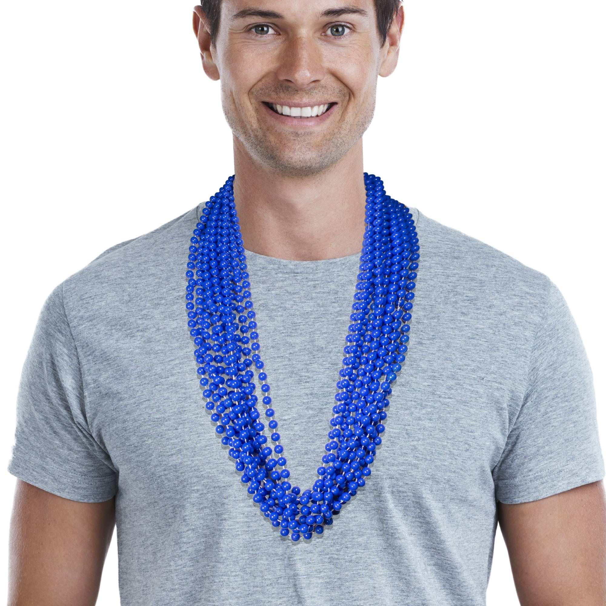 Solid Blue Mardi Gras Beads