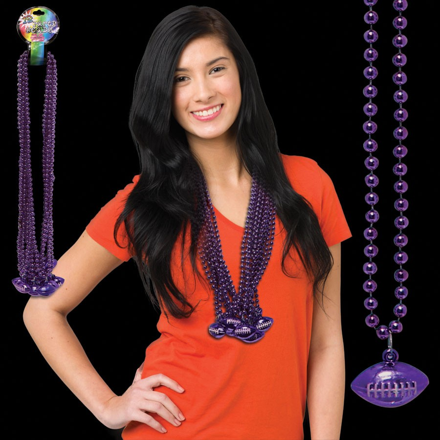 Purple Football Bead Necklace