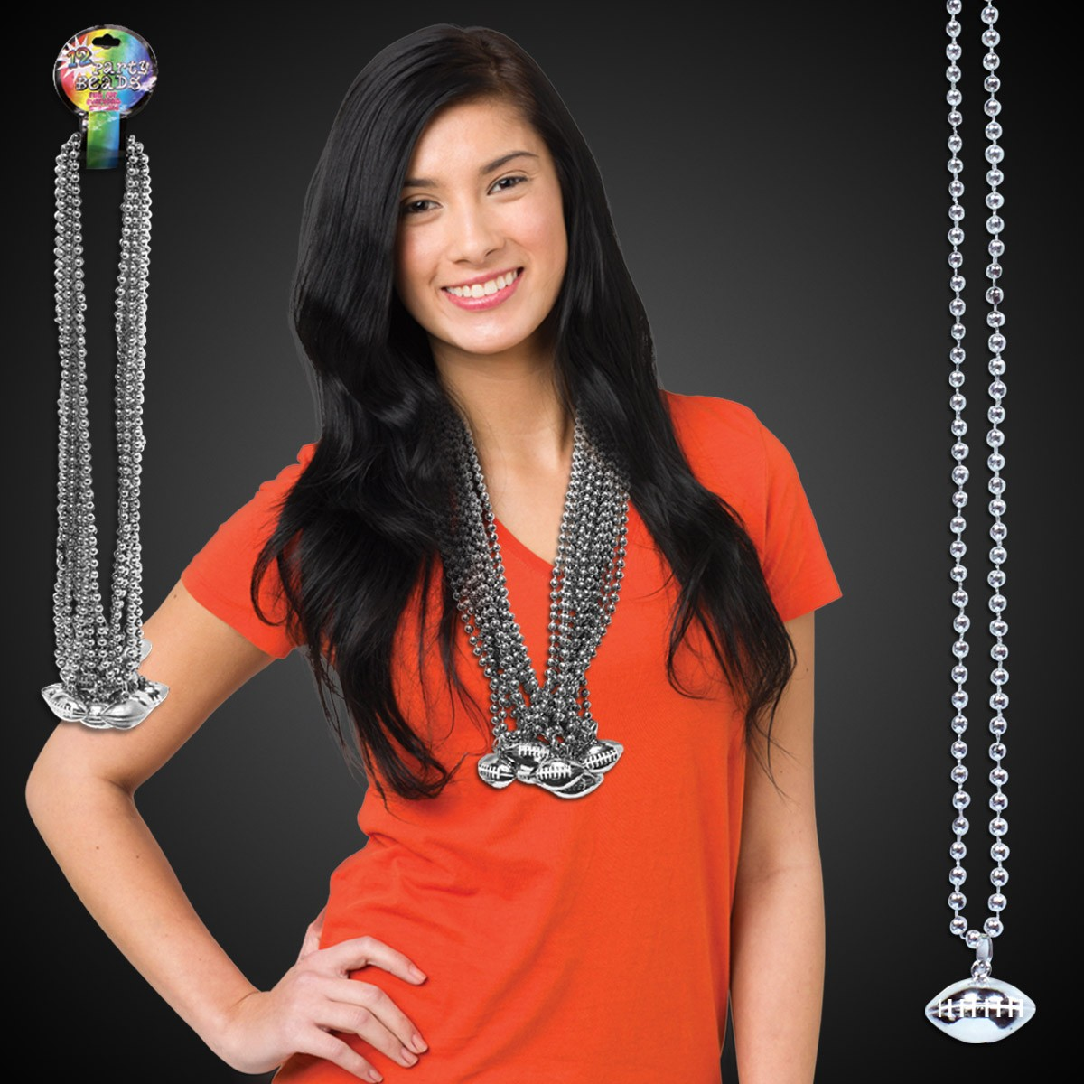 Silver Football Necklace Beads