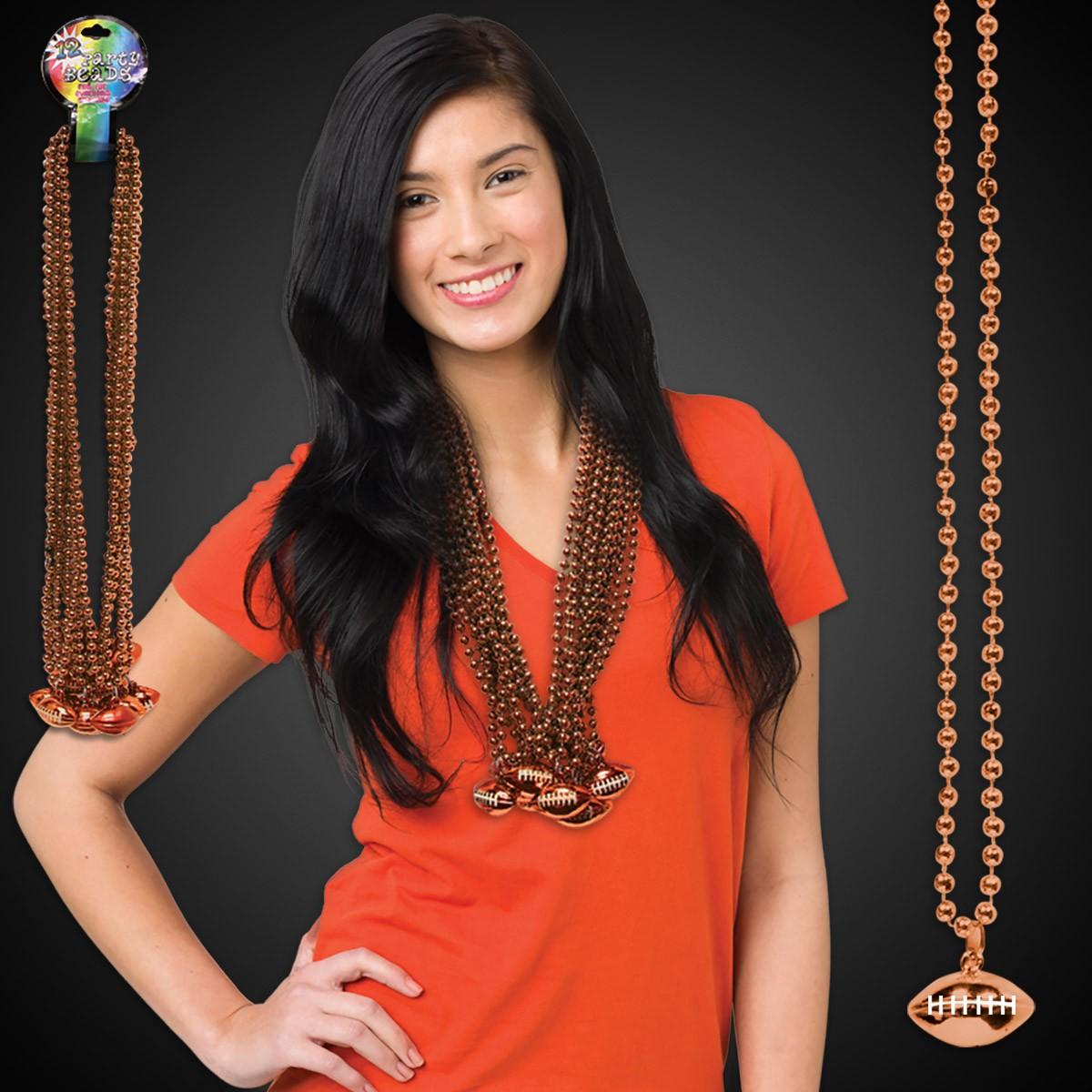 Orange Football Necklace Beads