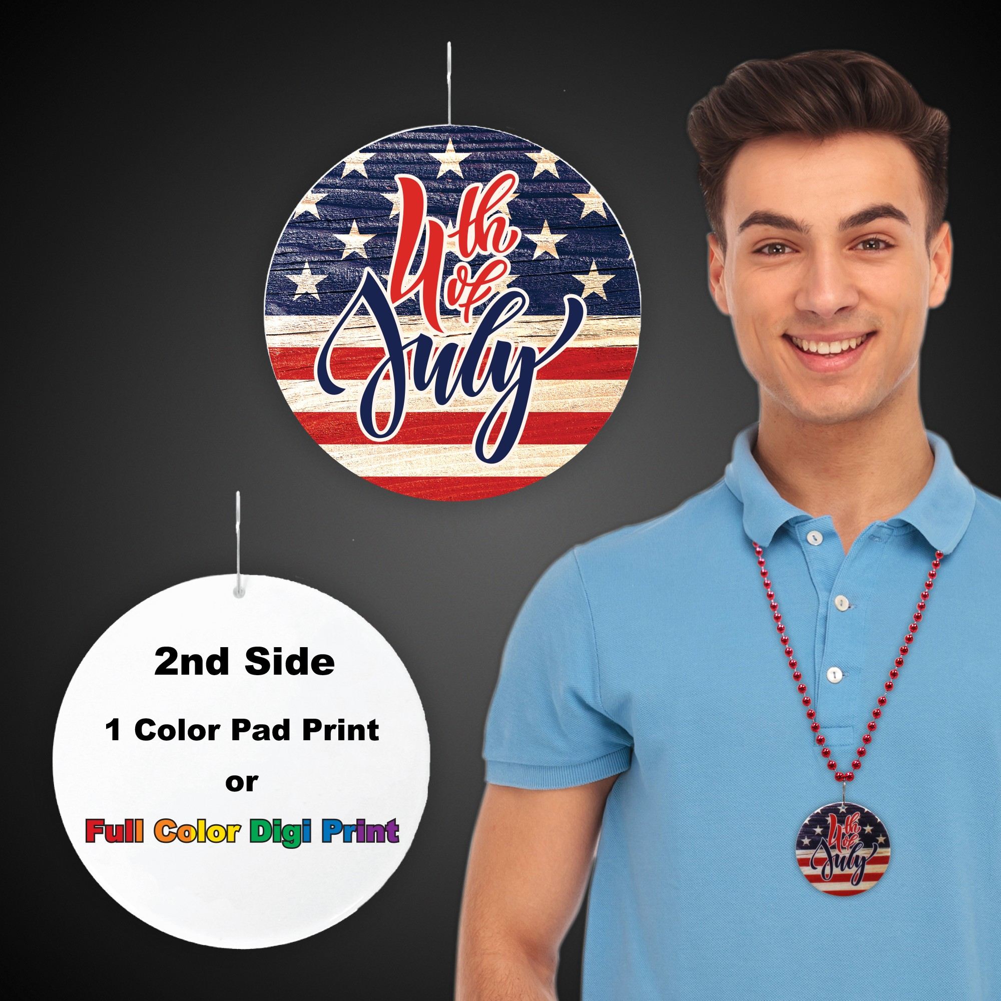 """4th of July Flag Plastic Medallions<br>2 1/2""""</br>"""