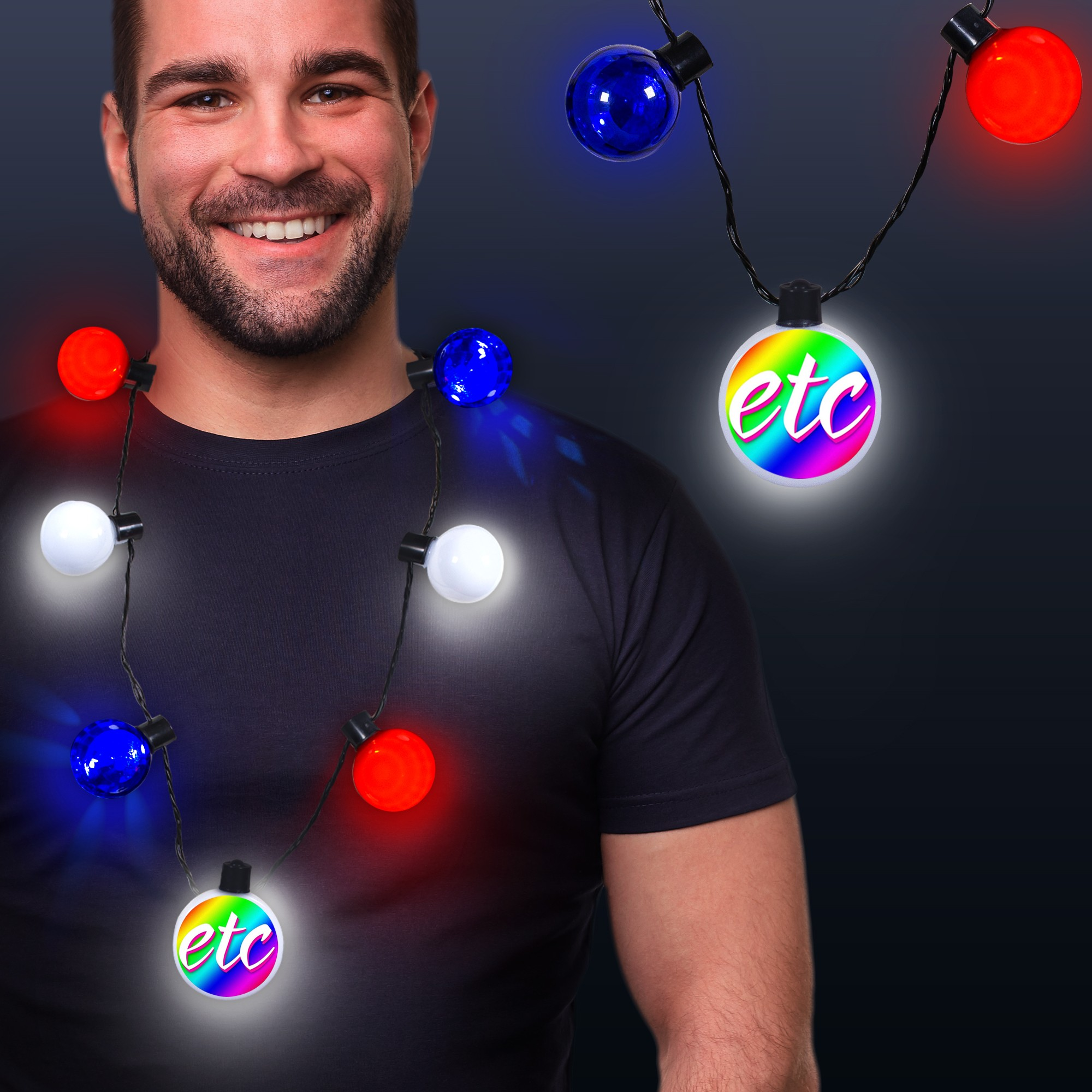 Patriotic LED Medallion Ball Necklace