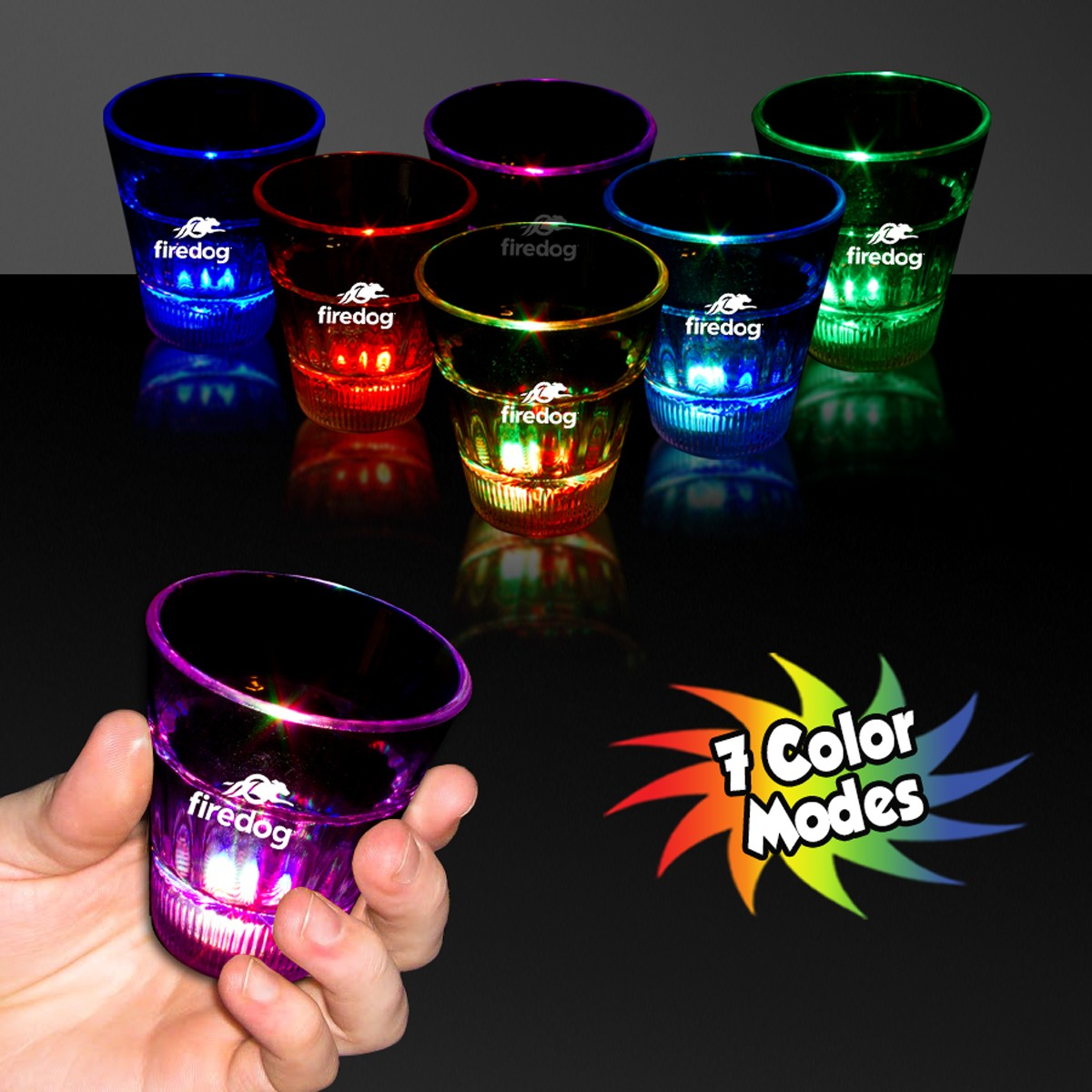 Clear Light Up Shot Glass With Multi Color Leds 2 Ounce Fast