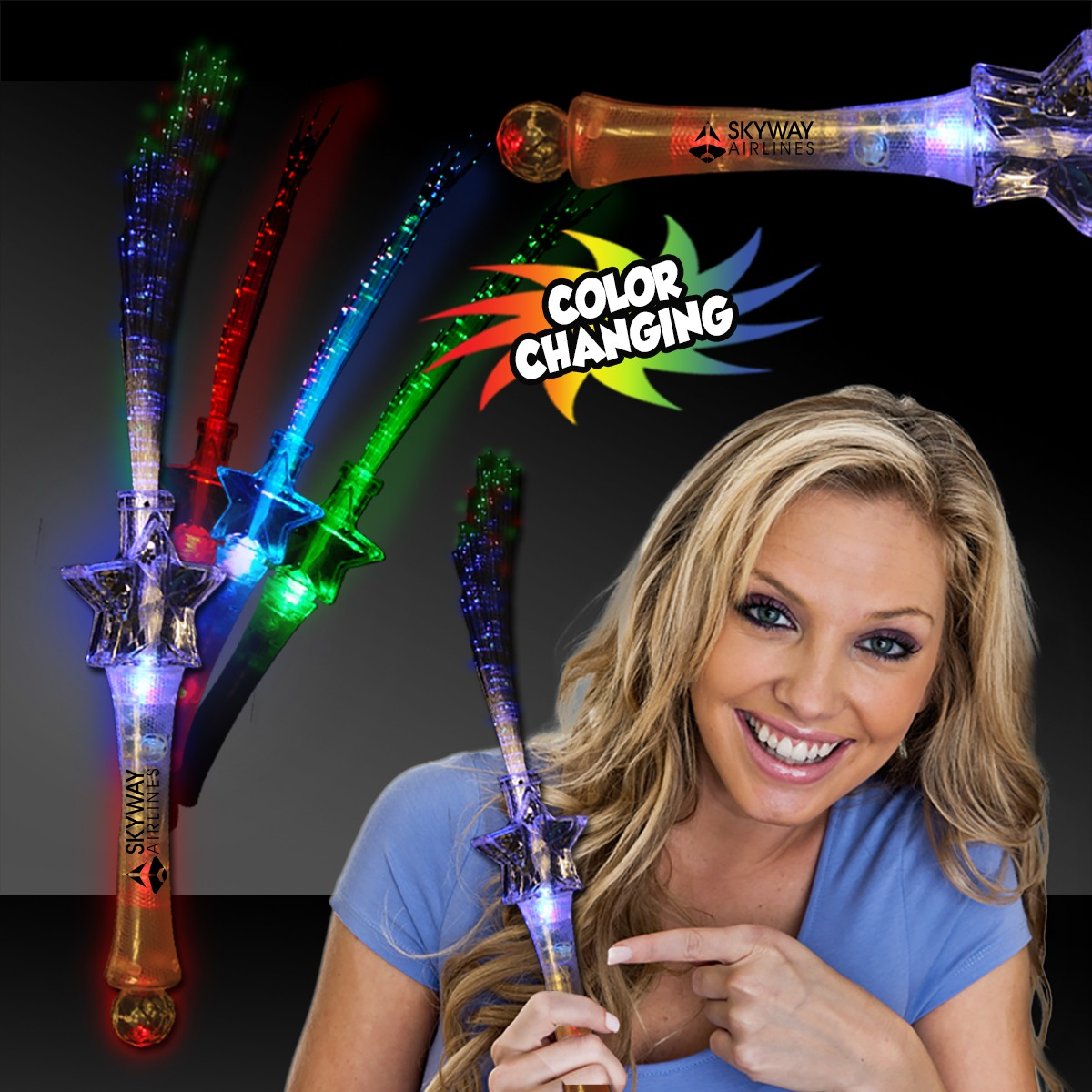 Fiber Optic Rainbow Crystal Star Wand - 16 Inch