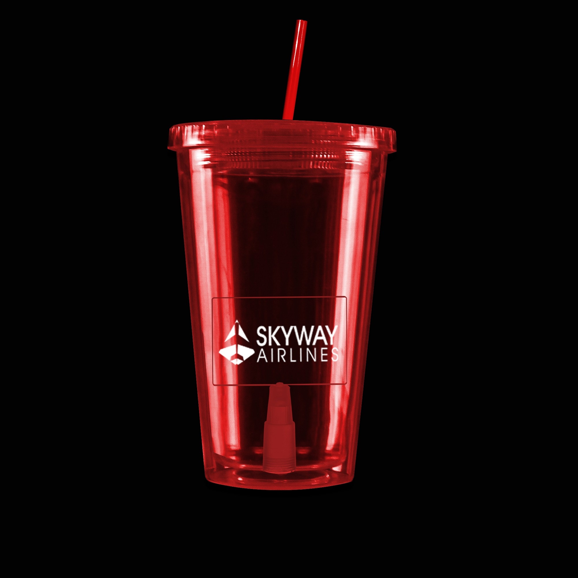Virtual Proof Red Light Up Travel Cup with Rectangle Insert
