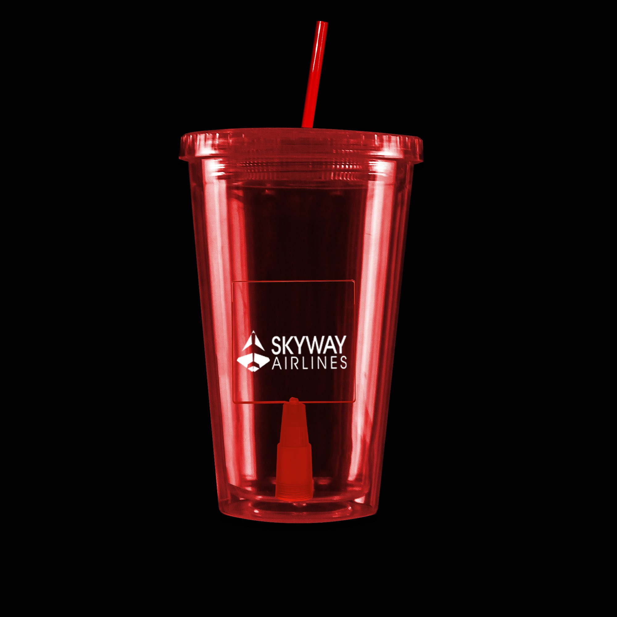 Red Light Up Travel Cup with Square Insert