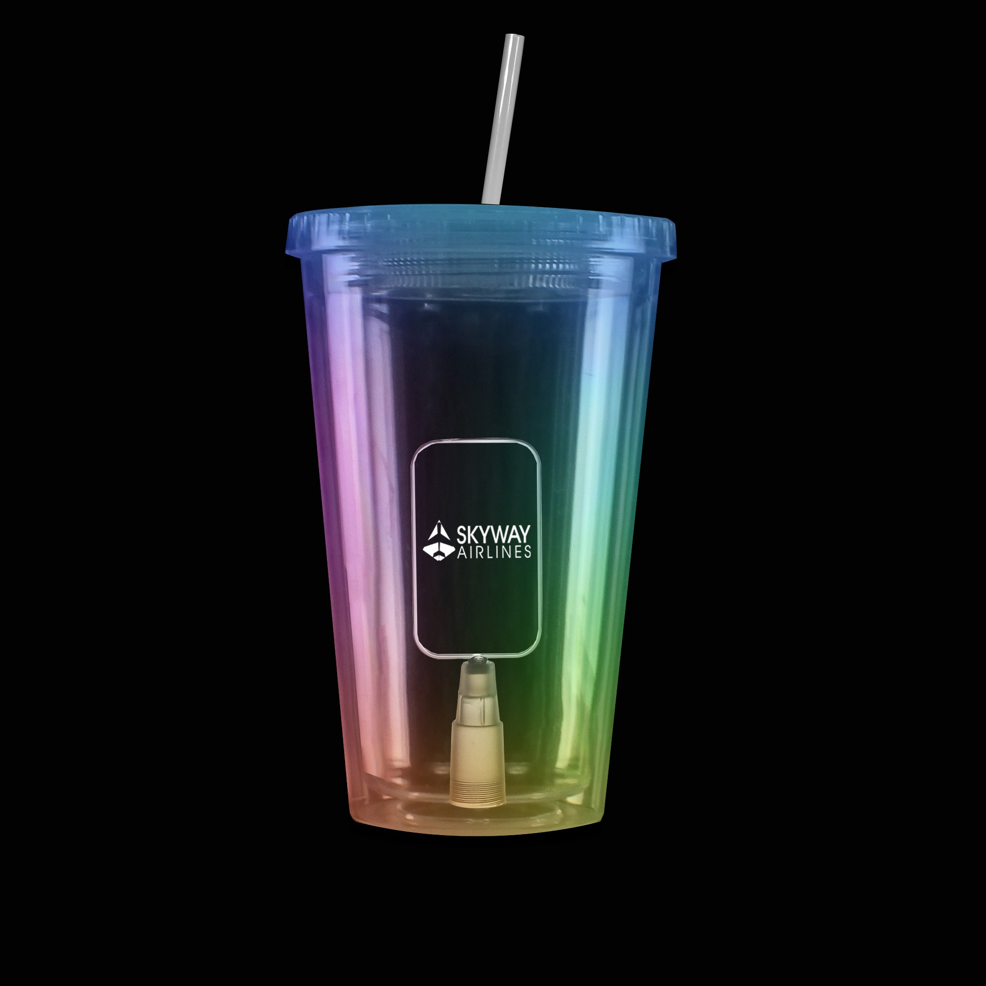 Multi Color Light Up Travel Cup with Dog Tag Insert