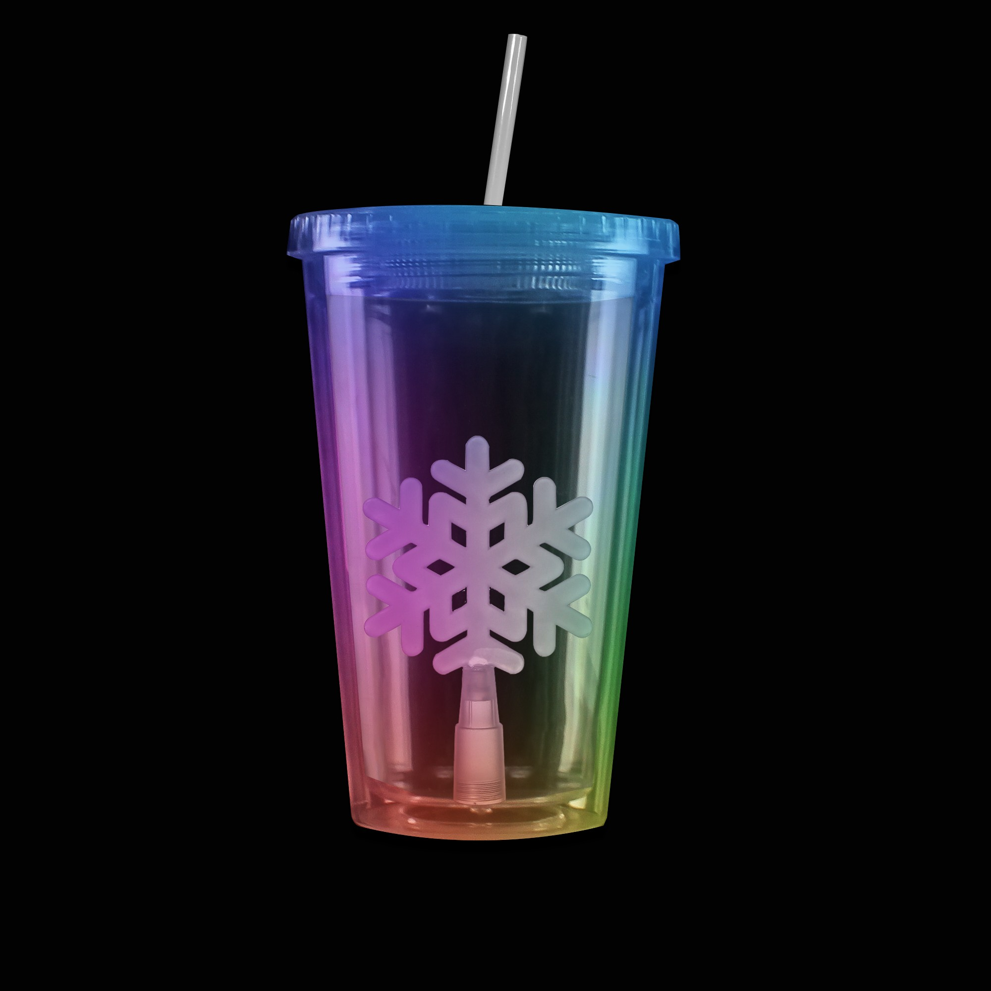 Multi Color Light Up Travel Cup with Snowflake Insert