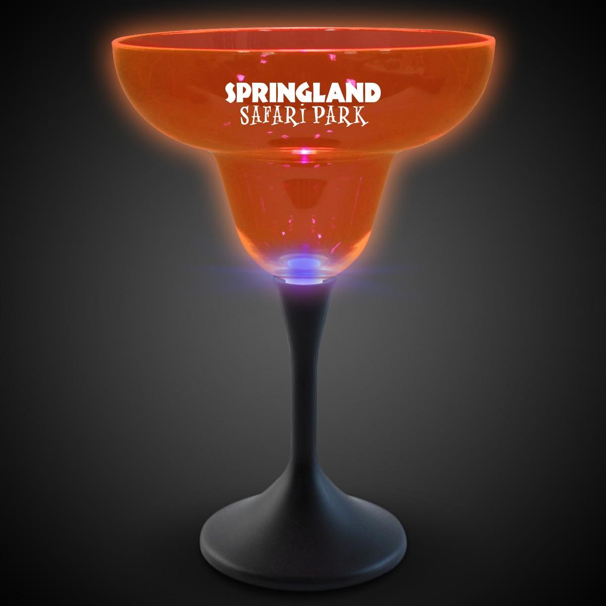 Orange Neon LED 10oz Margarita Glasses