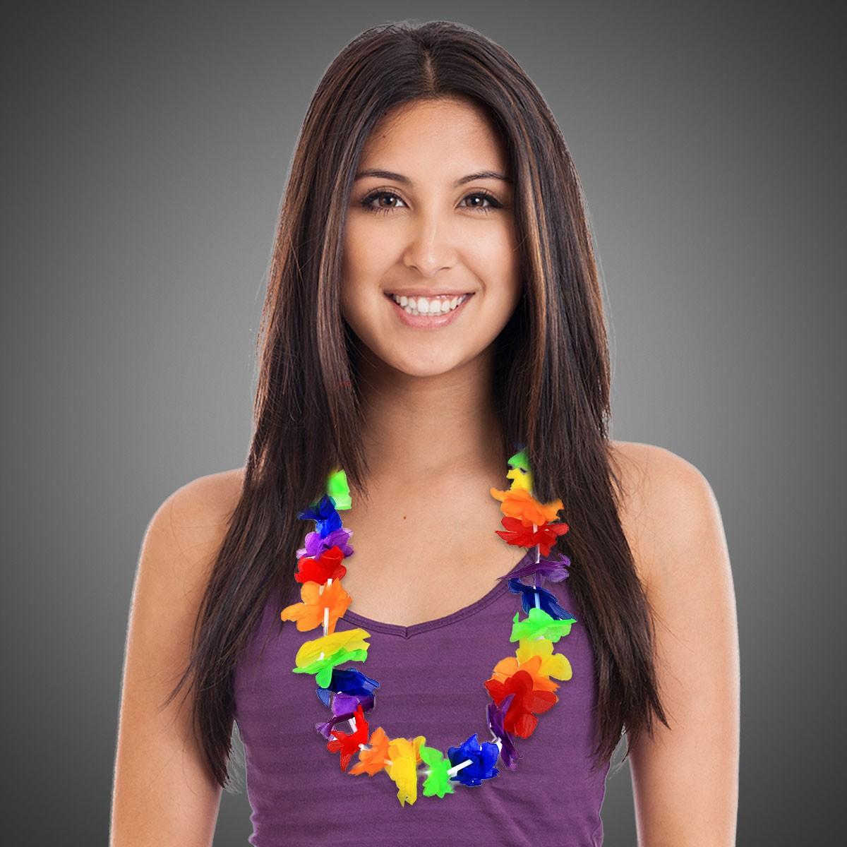 "Rainbow Flower Lei - 40"""